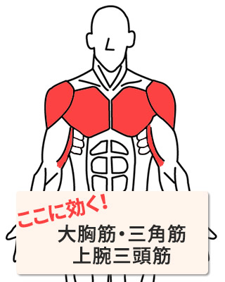 効く部位:大胸筋・三角筋・上腕三頭筋